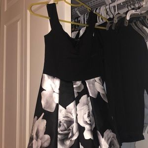 Black & White Flower Skater Dress